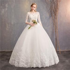 Image 2 - Half Sleeve Wedding Dresses 2020 New Mrs Win Luxury Lace Embroidery Ball Gown Wedding Dress Can Custom Made Vestido De Noiva F