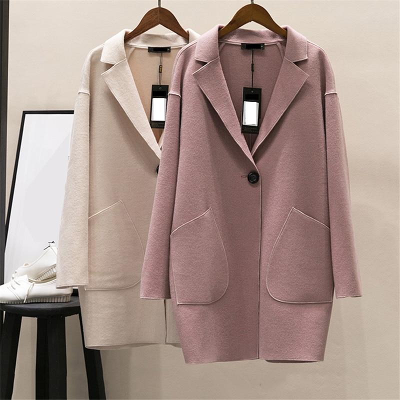 Couleur Manteau pink Printemps Femmes 2018 red Dt0170 Mediun Grande Solide Femelle Creamy white Long Nouveau Mince Automne Veste Survêtement Cachemire Taille Laine 5RqF6