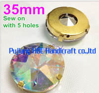 35mm 12pcs White AB Crystal Pointback Strass Fancy Stone With Claws For Clothing Decoration