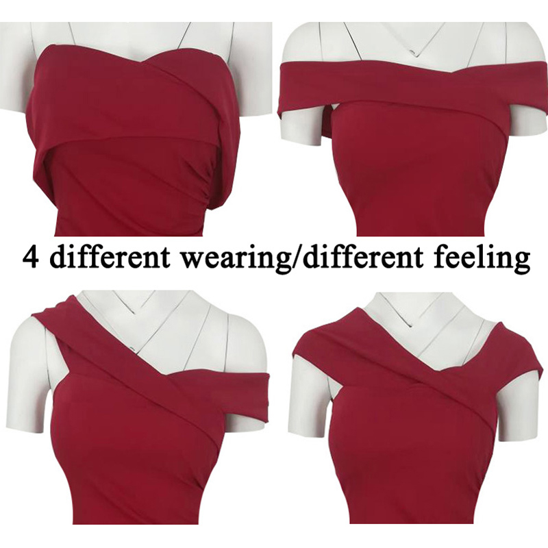 SEBOWEL Sexy Red Off Shoulder Bodycon Party Dress Women Elegant - Women's Clothing - Photo 4