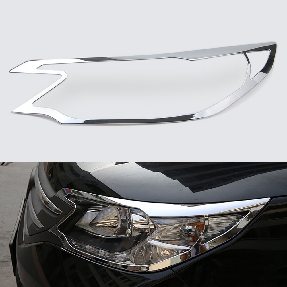 Car Chrome Front Headlight Lamps Cover Frame Bezel Decal For Honda CRV CR-V 2012 2013 2014 Car Styling Decoration Accessories