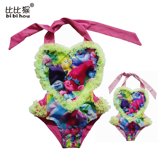 1c29dc04a6 Girls summer beach bikini dresses for kids swimsuit clothes children cotton  trolls cartoon costume swim wear dresses clothing