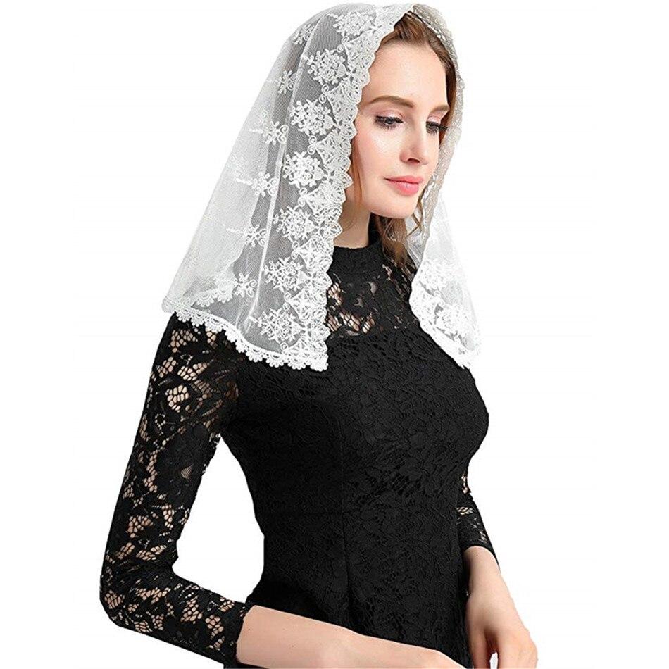 2019 Black White Bridal Veil Mantilla For Church Veil Catholic Latin Mass Head Covering Lace Vela Negra Voile Dentelle Mantilla