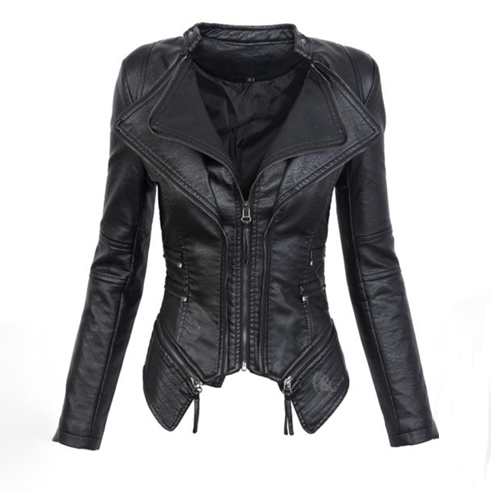 Black Gothic faux   leather   PU Jacket Women Winter Autumn Fashion Motorcycle Jacket Coat Punk Zipper Outerwear Plus Size Fall Coat