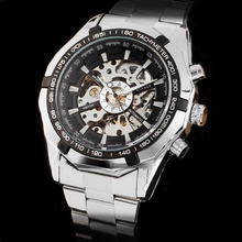 WINNER hommes montres montre automatique marque de luxe hommes classique lumineux plein acier inoxydable auto vent squelette montre mécanique