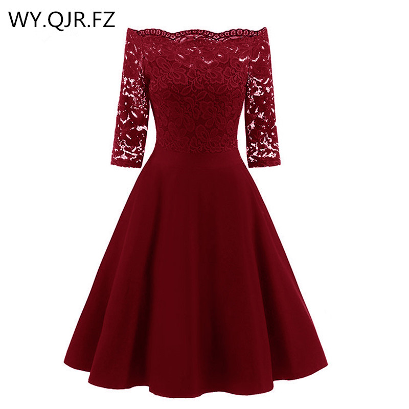 CD1597J#Burgundy Lace Boat Neck Short   Bridesmaid     Dresses   Three-quarter Sleeve Wedding Party   Dress   Gown Prom Wholesale Clothing