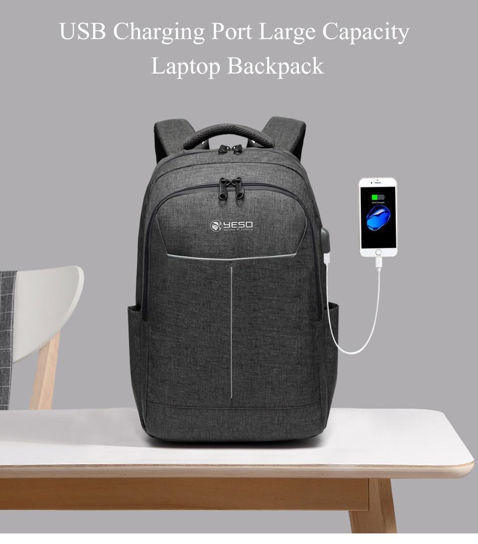 8f78411ad1d9 YESO рюкзак для ноутбука с usb зарядным портом большой емкости деловые  рюкзаки для женщин и мужчин подростковые школьные рюкзаки ...