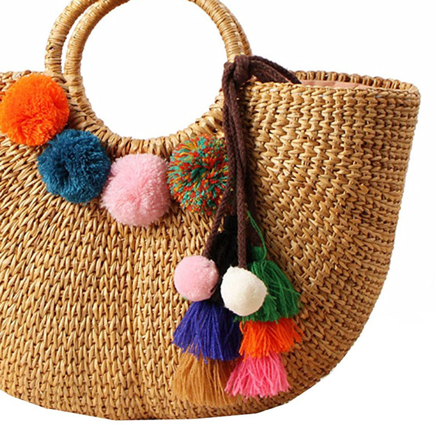 Image 5 - DCOS Womens Vintage Straw Woven Handbags Casual Beach Vacation Large Tote Bags With Round Handle Ring(Hairball)Top-Handle Bags   -