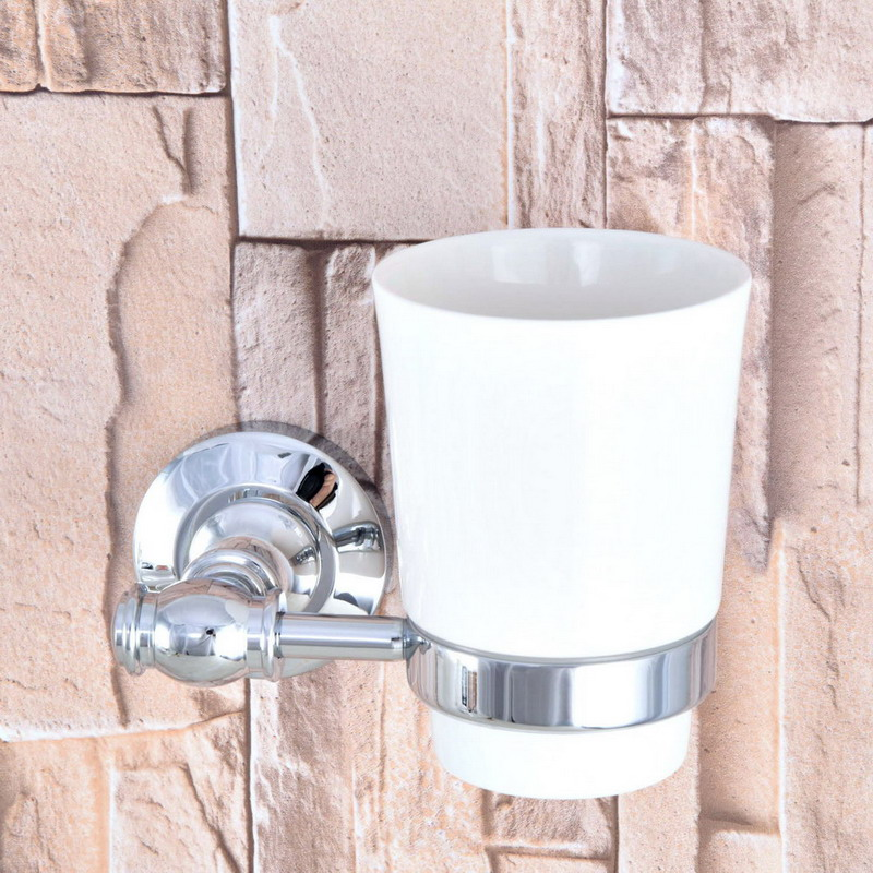 Polished Chrome Brass Single Toothbrush Holder With Ceramic Cup Wall Mounted Bathroom Accessories aba791 image