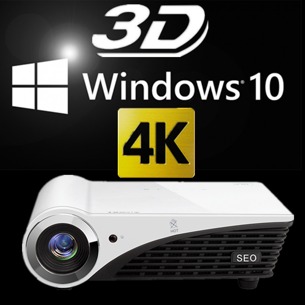 3D DLP HD 4K Projector Windows 10 Projector WIFI 2500