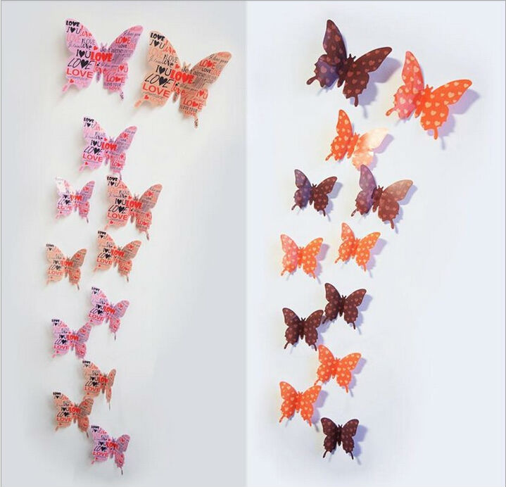 12 designs12pcs 3D Butterfly Wall sticker window sticker kid bedroom Home decor DIY Wallpaper Art Decals House Decoration LW0232