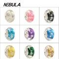 925 Agujero Grande de Plata de Cuentas de Colores Con Diamantes de Imitación de Cristal de Murano Flor 3D Europea Del Encanto Cupieron la Pulsera de la Marca