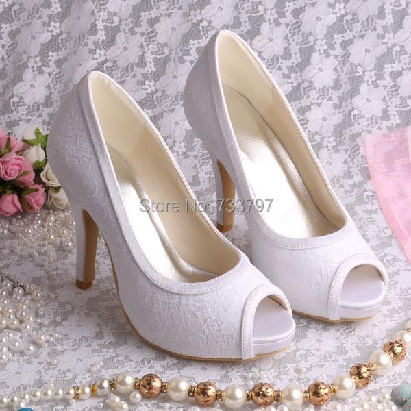 ФОТО Hot Selling 2016 Platform Wedding Shoes Open Toe Heels White Lace for Women