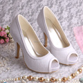 Hot Selling 2016 Platform Wedding Shoes Open Toe Heels White Lace for Women
