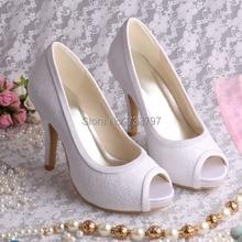 Горячая распродажа 2016 платформа свадебные туфли с открытым носком каблуки белое кружево для женщин