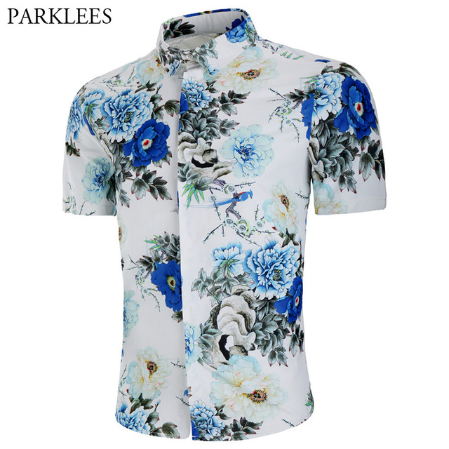 345f8590585 Fashion Floral Print White Shirt Men 2018 Summer New Slim Fit Short Sleeve  Hawaiian Beach Shirt Mens Casual Dress Shirts Camisas