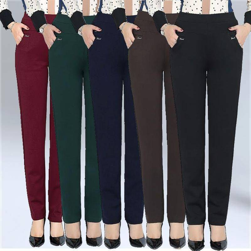 S-6XL New Spring Autumn Plus Size Pants For Women Fashion Solid Color High Waist Elastic Pants Place Lady Pencil Pants