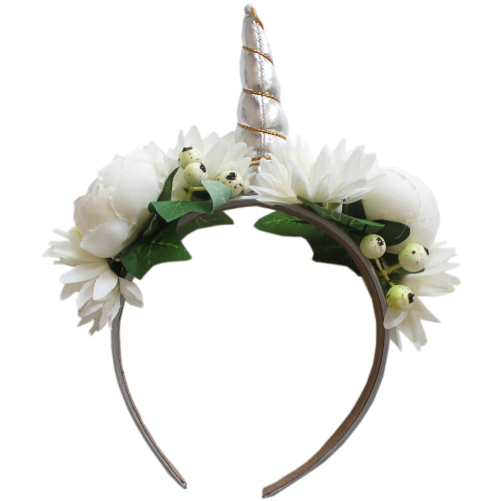 Silver unicorn horn headband girl unicorn birthday rose flower silver unicorn horn headband girl unicorn birthday rose flower hairbands party floral crown hair accessories photo props 12pcs in hair accessories from izmirmasajfo