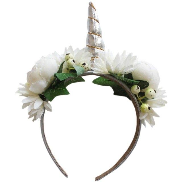 Silver Unicorn Horn Headband Girl Unicorn Birthday Rose Flower Hairbands  Party Floral Crown Hair Accessories Photo ae895b00a3e