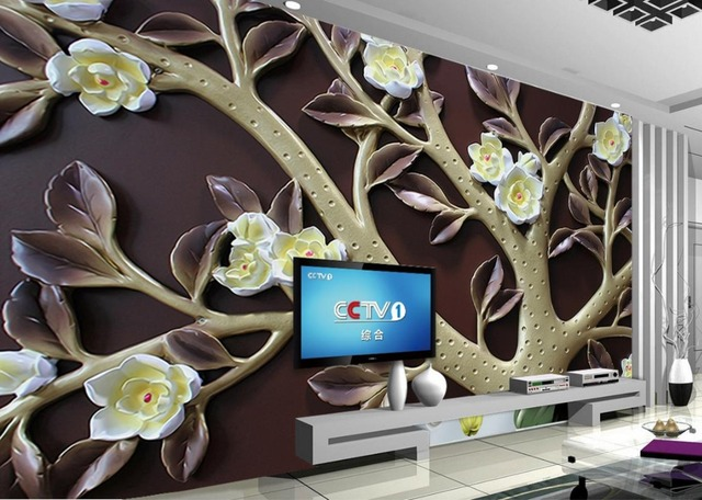 Flower relief Background Wall Leaves relief 3D Background Wall