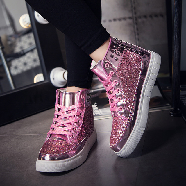 2017 spring design Women Fashion Flats pink Silver Rivet Sequins Shiny Shoes Leather Casual Shoes ankle boots for women