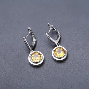 Image 5 - Серьги и кольцо женские из серебра 925 пробы с цитрином