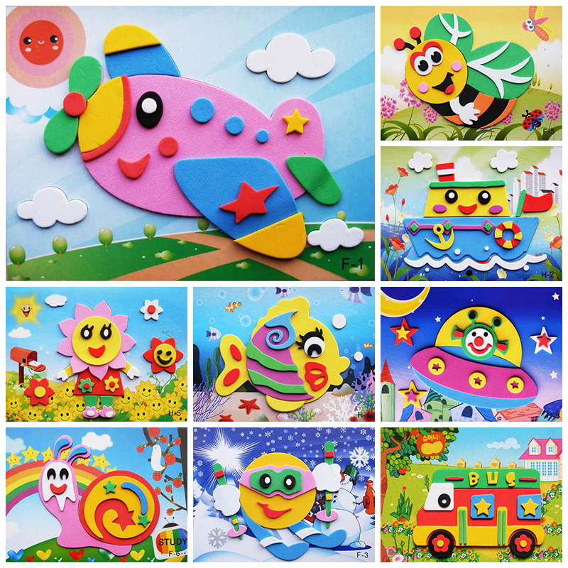 10 designs/lot DIY Cartoon Animal 3D EVA Foam Sticker Puzzle Early Learning Education Toys for Children crafts for kids-10(China)