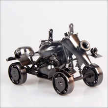 VILEAD 15cm Beach Motorcycle Model Retro Iron Motor Figurine Gift Vintage Home Decor New Year Christmas Decoration for