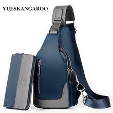 Bolso de pecho de marca para hombre, bandolera informal con carga USB, resistente al agua, Oxford, riñonera de viaje, mensajero