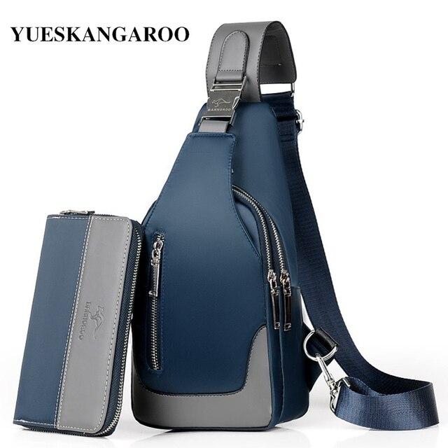 Brand Chest Pack Men Casual Shoulder Crossbody Bag USB Charging Chest Bag Waterproof Oxford Travel Sling Bag Messenger Bag Male