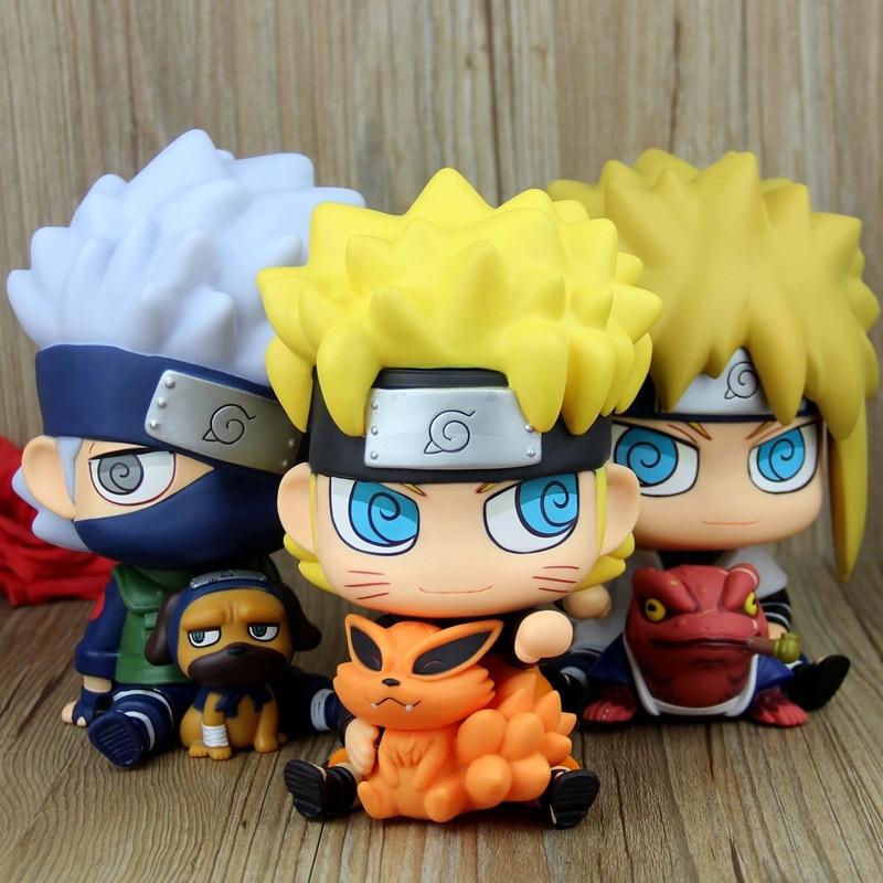 Anime Naruto Ninja Chimi Mega Soft Vinyl Uzumaki Naruto Generation 4 Minato Kakashi Hokage PVC Piggy Bank Action Figure schleich фигурка кобыла пинто цвет молочный коричневый