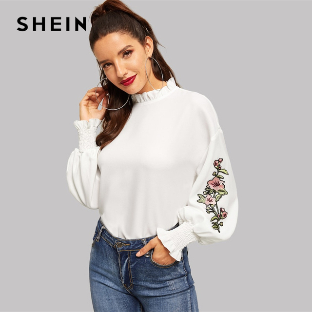 f06519f3e73edb SHEIN White Frill Trim Shirred Panel Embroidered Blouse Women 2019 Bishop  Sleeve Spring Stand Collar Long Sleeve Blouses