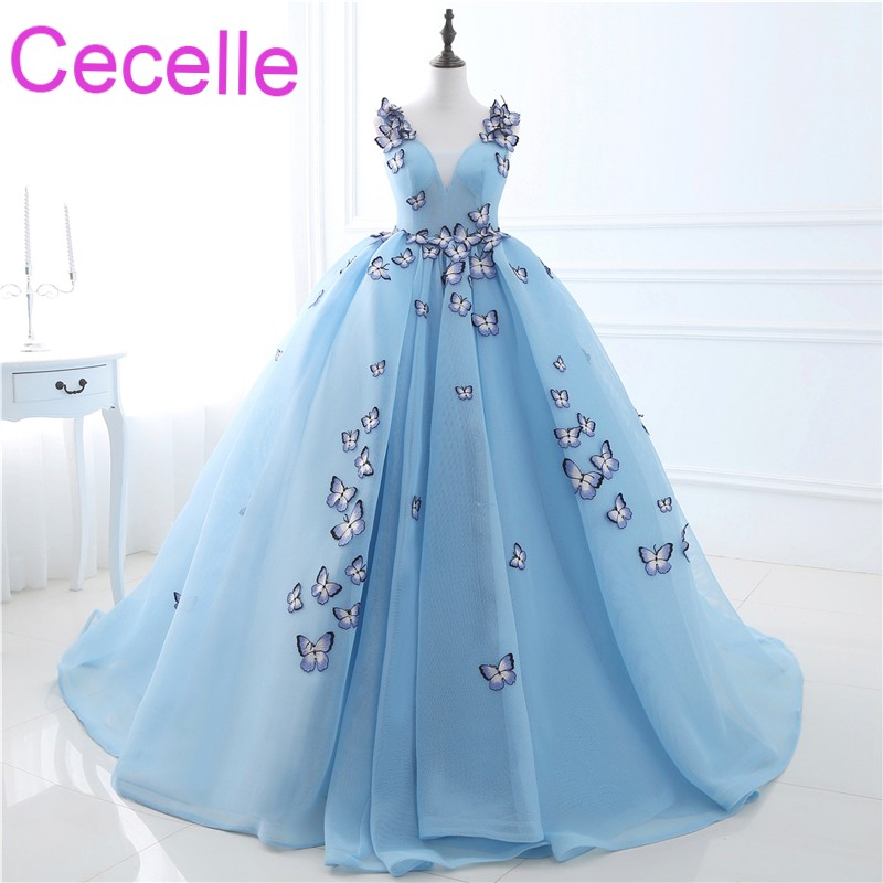 2018 New Blue Ball Gown Prom Dresses Long Tulle Princess Skirt With ...
