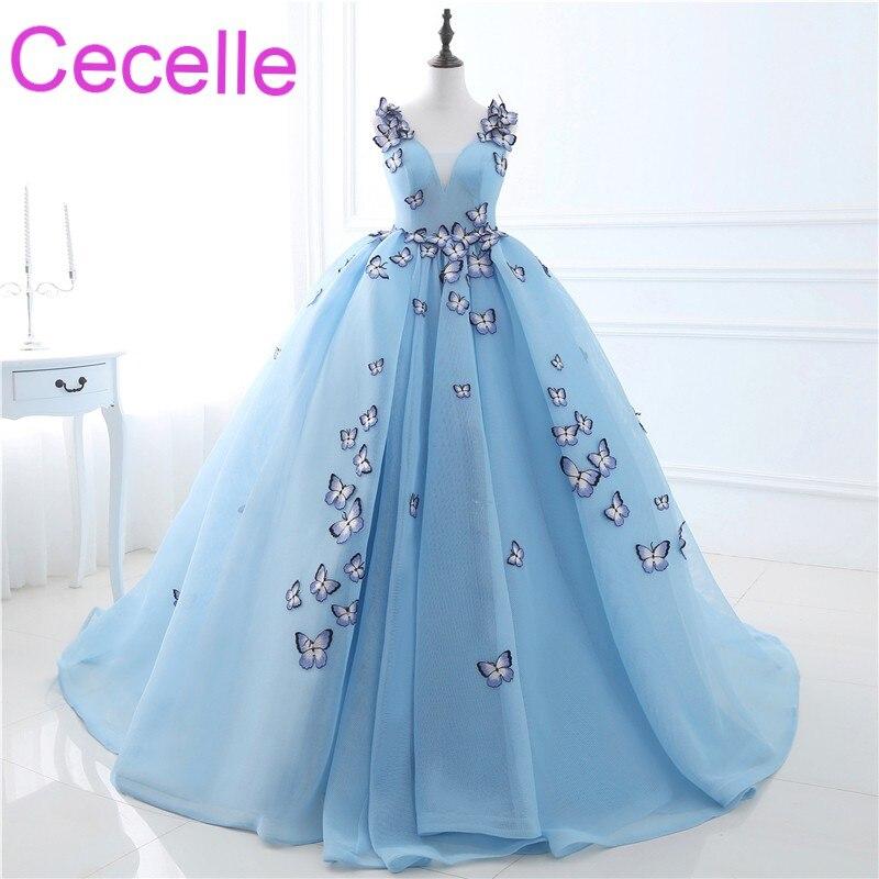 2019 Новое синее бальное платье Выпускные платья длинная фатиновая юбка принцессы с бабочкой корсет Назад подростковые официальные Длинные
