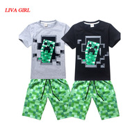 Child Spring Summer Black Blue Cotton T Shirt With Pants Minecraft Halloween Costume Clothes For Kids