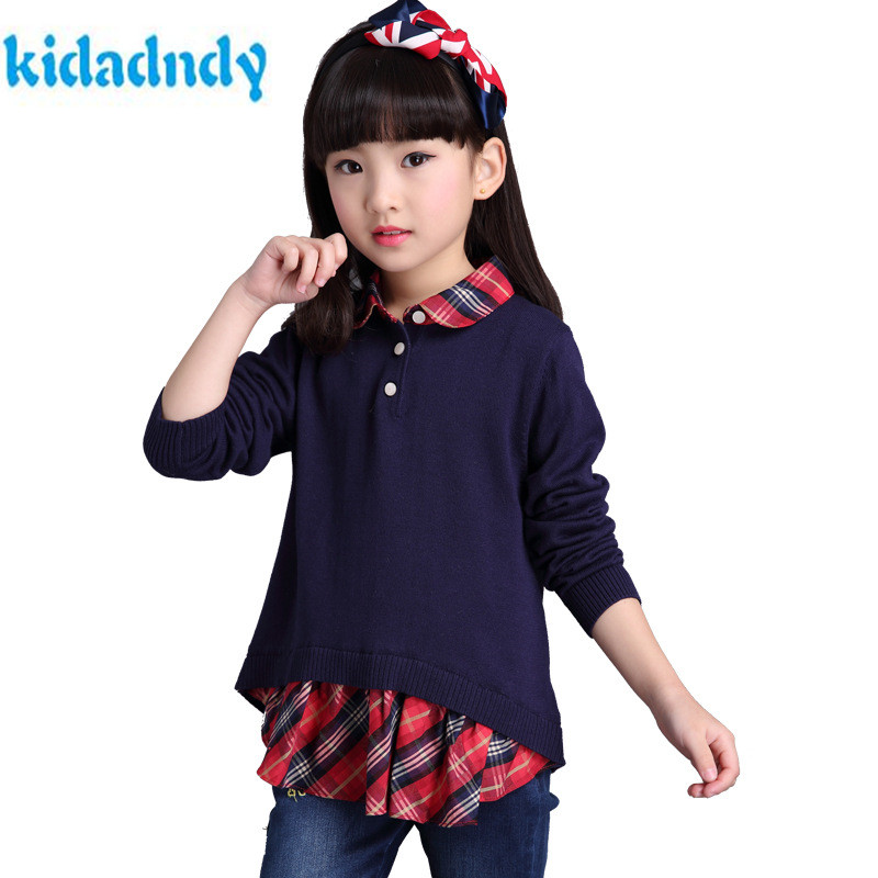 KiDaDndy Sweater Set For Girls Two Pieces For 3 T~ 8T Sweaters Kids Baby Tops Knitted Sweater For Kids Girl School Uniform Cloth