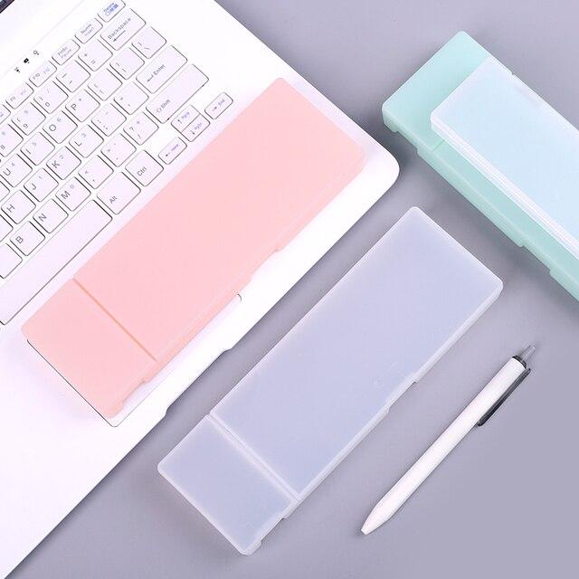 Jianwu Muji стиль простой прозрачный пенал Пластик коробка для хранения обучения канцелярские принадлежности