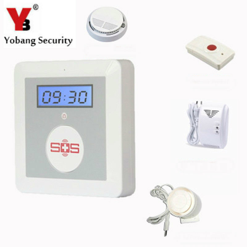 YobangSecurity Elder Security Emergency Call Button Android IOS APP GSM SOS Button Siren Smoke Alarm Sensor Gas Leakage Detector wireless service call bell system popular in restaurant ce passed 433 92mhz full equipment watch pager 1 watch 7 call button