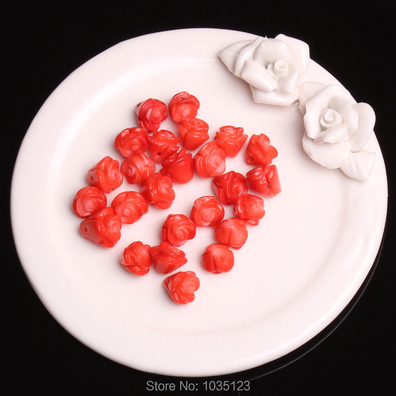 Free Shipping 9-10mm Natural Red Coral Engraving Flower Shape Gems Loose Beads 25Pcs Creative Jewellery Making w3450