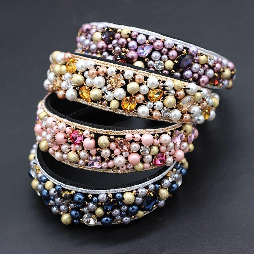 Pearl Hand Stitching Fashion Headband New Fashion Bohemian Hand-stitched Beads Multi-color Versatile Headband  853