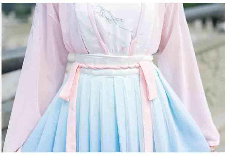 Bộ 3 Bộ Hanfu Phụ Nữ Trung Quốc Cổ Đại Phong Cách Màu Xanh Gradient Áo Khoác Nữ Carnival Bộ Trang Phục Công Chúa Bộ Trang Phục Cho Nữ Lady Plus Kích Thước