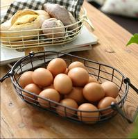 Retro Rustic Wire Net With Wood Bottom Fruit Egg Storage Basket Multifuction Iron Craft Home Store Decoration