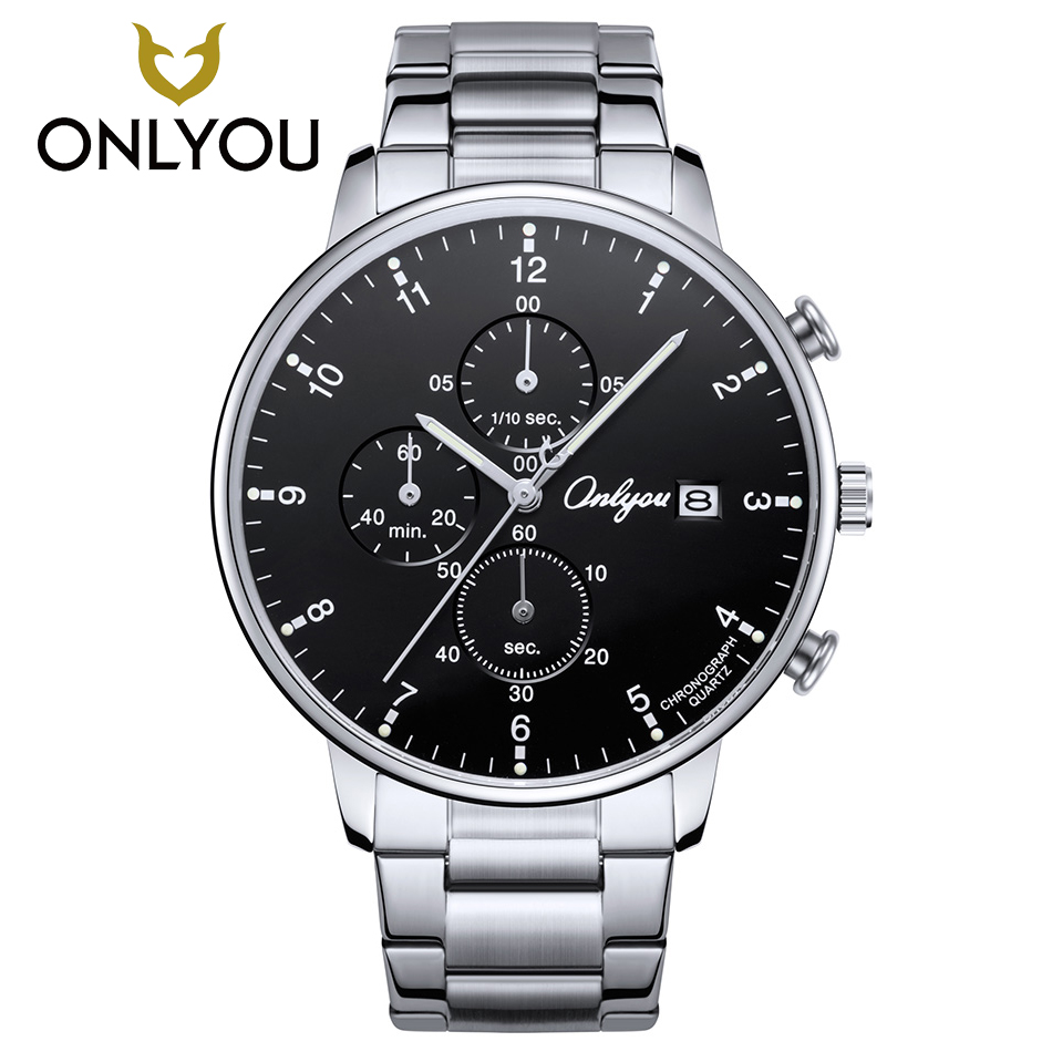 ONLYOU Men Chronograph Watch Sport Stainless Steel Quartz Wristwatch Fashion Top Brand Luxury Clock Big Dial Casual Waterproof epozz brand new quartz watch for men big dial waterproof stainless steel watches classic casual top fashion luxury clock 1602