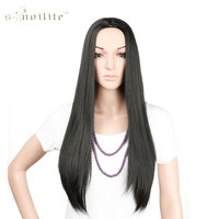 SNOILITE 25 Long Straight 3 4 Full Wigs Synthetic Heat Resistant Clip In Hairpiece Ladies Dark