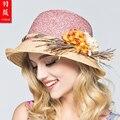 2016 Nueva Dama de la Moda Dom Sombrero de Las Mujeres Filipinas Vera Playa Sol Cap Mujeres Sun Straw Hat Cap Elegante para Las Mujeres 5 Colores B-3717