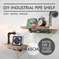 Vintage Industrial Bathroom Pipe Shelf Wall Mounted Floating Shelf with Pine Wood Living Room Book Frame Shelving