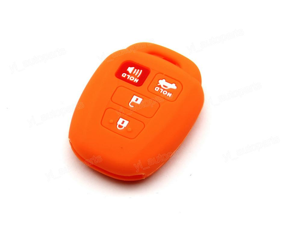 Orange Silicone Case Cover Holder Fit For Toyota Camry Corolla Vios Remote Key 4 Buttons 4BT