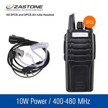 2 шт. Zastone A9 портативные рации пара 10 Вт UHF 400-480 мГц двухстороннее CB приемопередатчик рации и гарнитуры