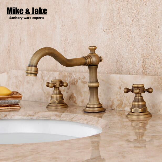 Three hold double handle antique brass faucet bathroom sink tap basin mixer vintage bathroom tap