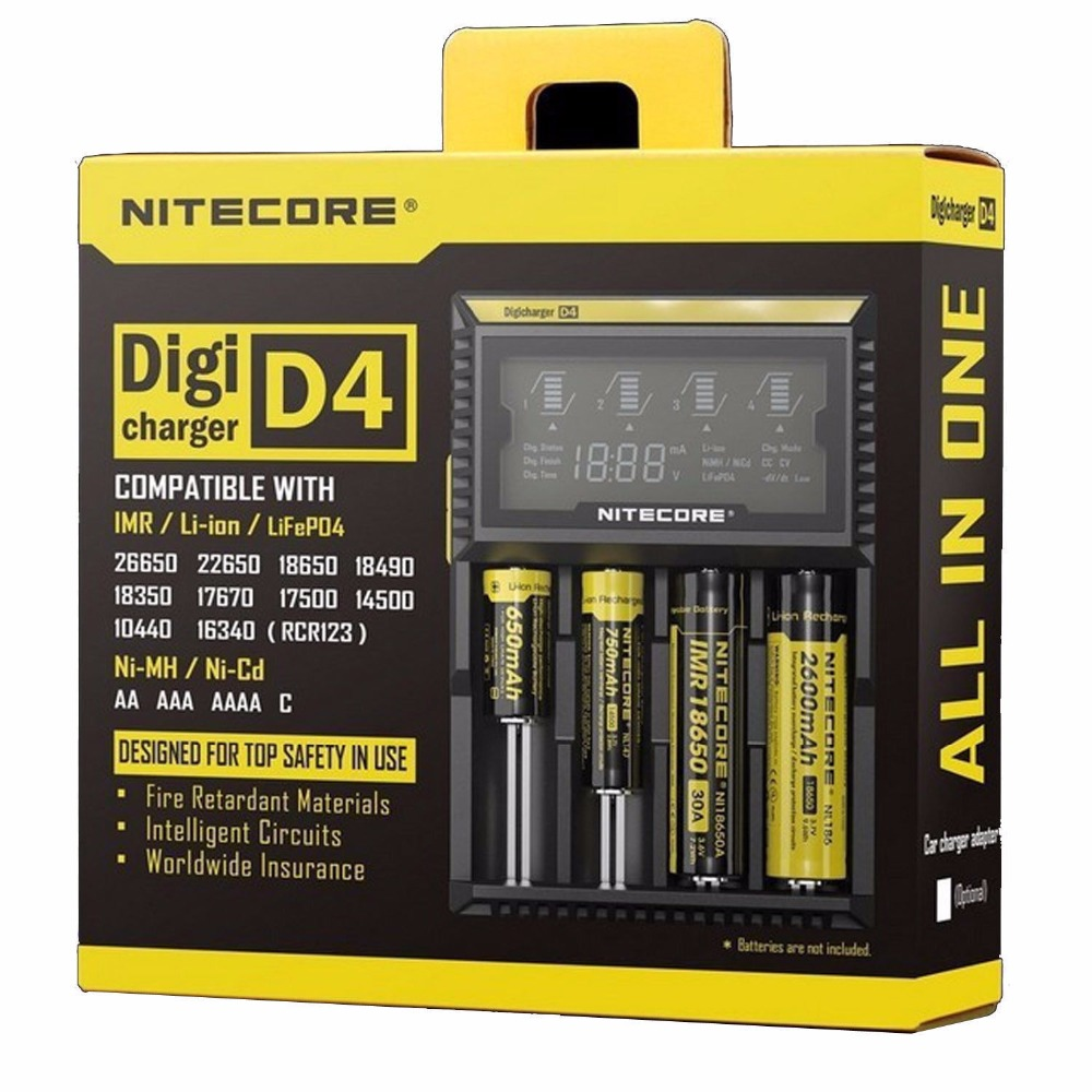 Nitecore D4 Battery Charger LCD Intelligent Charger Li ion 18650 18350 14500 16340 26650 22650 AAA AA 12V Battery Charger
